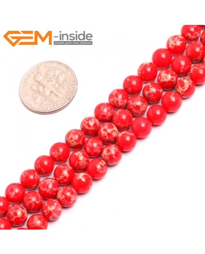 "G15307 6mm Round Red Sea Sediment Jasper Beads Dyed color 15"" Beads for Jewelry Making Wholesale"