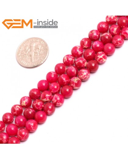 "G15308 6mm Round Magenta RED Sea Sediment Jasper Beads Dyed Color 15"" Beads for Jewelry Making Wholesale"