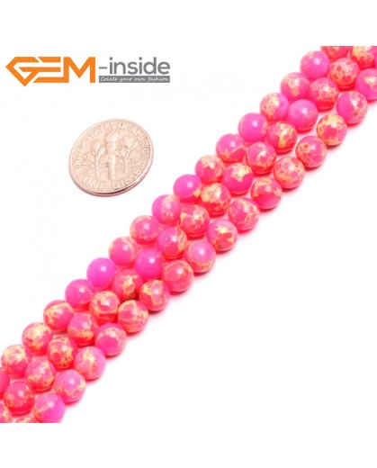 "G15309 6mm Round Dark Pink Sea Sediment Jasper Beads Dyed Color 15"" Beads for Jewelry Making Wholesale"