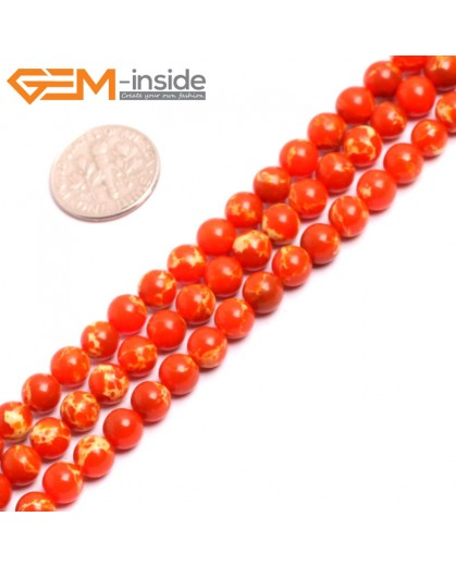 "G15311 6mm Round Orange Sea Sediment Jasper Beads Dyed Color 15"" Beads for Jewelry Making Wholesale"