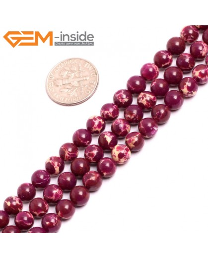 "G15312 6mm Round Purple Sea Sediment Jasper Beads Dyed color 15"" Beads for Jewelry Making Wholesale"