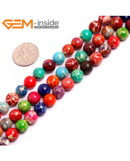 "G15314 8mm Round Mutil-Color Mixed color Sea Sediment Jasper Beads Dyed Color 15"" Beads for Jewelry Making Wholesale"
