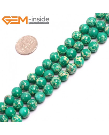 "G15316 8mm Round Dark Green Sea Sediment Jasper Beads Dyed Color 15"" Beads for Jewelry Making Wholesale"