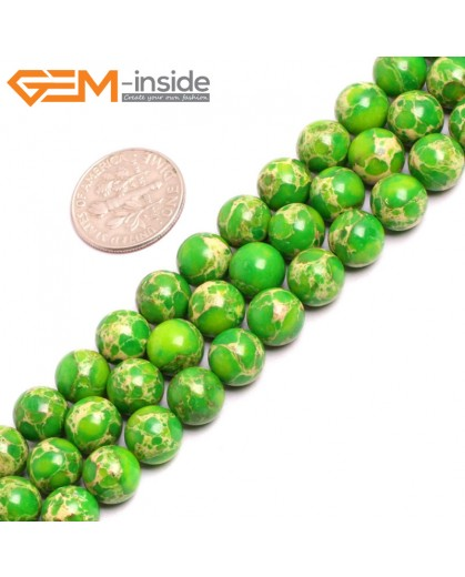 "G15317 8mm Round Apple Green Sea Sediment Jasper Beads Dyed Color 15"" Beads for Jewelry Making Wholesale"