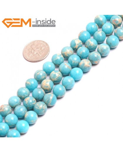 "G15318 8mm Round Turquoise Blue Sea Sediment Jasper Beads Dyed Color 15"" Beads for Jewelry Making Wholesale"