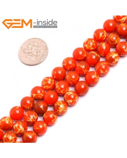 "G15319 8mm Round Orange Sea Sediment Jasper Beads Dyed Color 15"" Beads for Jewelry Making Wholesale"