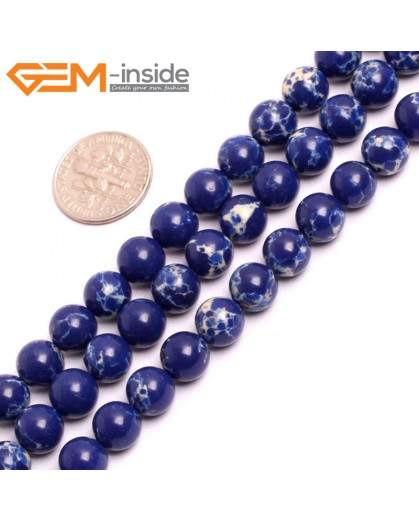 "G15320 8mm Round Lapis Blue Sea Sediment Jasper Beads Dyed Color 15"" Beads for Jewelry Making Wholesale"