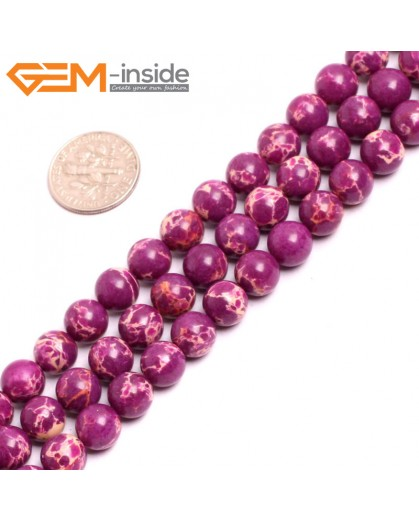 "G15321 8mm Round Purple Sea Sediment Jasper Beads Dyed Color 15"" Beads for Jewelry Making Wholesale"
