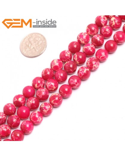 "G15322 8mm Round Magenta Sea Sediment Jasper Beads Dyed Color 15"" Beads for Jewelry Making Wholesale"