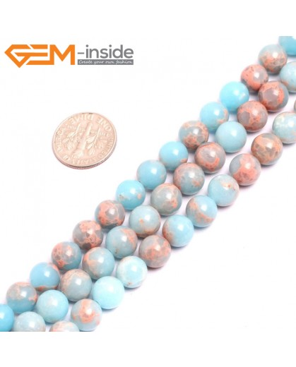 "G15323 8mm Round Light Blue Sea Sediment Jasper Beads Dyed Color 15"" Beads for Jewelry Making Wholesale"