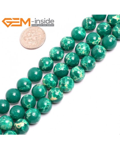 "G15324 10mm Round Dark Green Sea Sediment Jasper Beads Dyed Color 15"" Beads for Jewelry Making Wholesale"