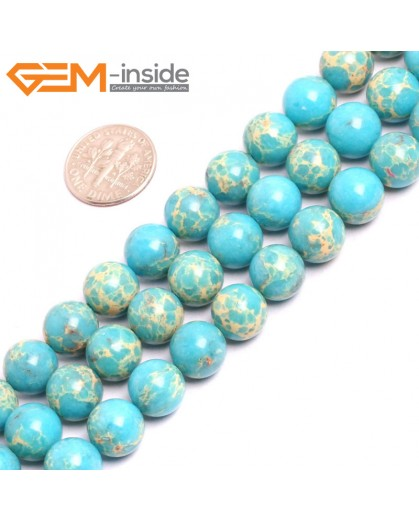 "G15325 10mm Round Blue Sea Sediment Jasper Beads Dyed Color 15"" Beads for Jewelry Making Wholesale"