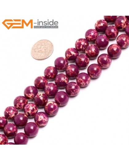 "G15326 10mm Round Purple Sea Sediment Jasper Beads Dyed Color 15"" Beads for Jewelry Making Wholesale"
