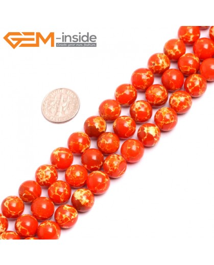 "G15327 10mm Round Orange Sea Sediment Jasper Beads Dyed Color 15"" Beads for Jewelry Making Wholesale"