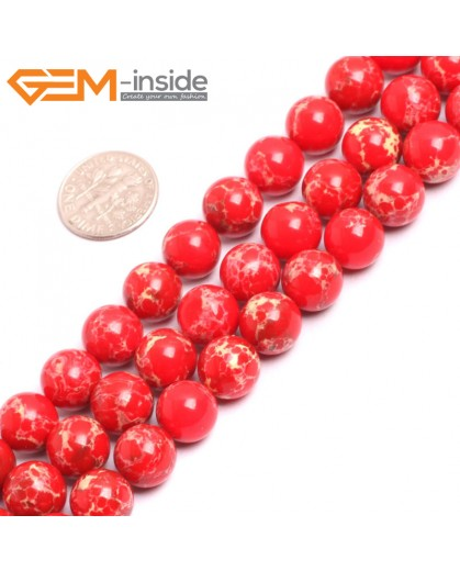 "G15328 10mm Round Red Sea Sediment Jasper Beads Dyed Color 15"" Beads for Jewelry Making Wholesale"