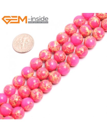 "G15329 10mm Round Pink Sea Sediment Jasper Beads Dyed Color 15"" Beads for Jewelry Making Wholesale"