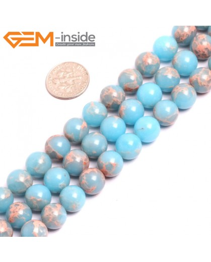 "G15330 10mm Round Light Blue Sea Sediment Jasper Beads Dyed Color 15"" Beads for Jewelry Making Wholesale"