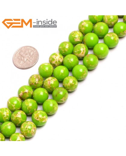 "G15331 10mm Round Apple Green Sea Sediment Jasper Beads Dyed Color 15"" Beads for Jewelry Making Wholesale"