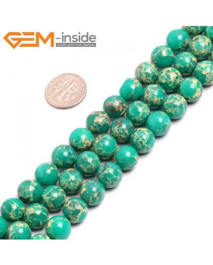 "G15332 10mm Round Dark Green Sea Sediment Jasper Beads Dyed Color 15"" Beads for Jewelry Making Wholesale"