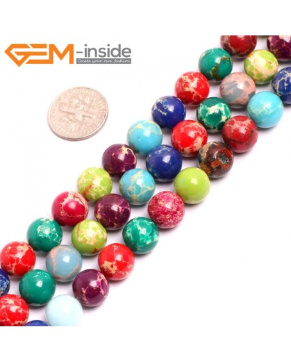 "G15334 10mm Round Muti-Color Multicolor Mixed Color Sea Sediment Jasper Beads Dyed Color 15"" Beads for Jewelry Making Wholesale"