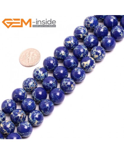 "G15335 12mm Round Lapis Lazuli Blue Sea Sediment Jasper Beads Dyed Color 15"" Beads for Jewelry Making Wholesale"