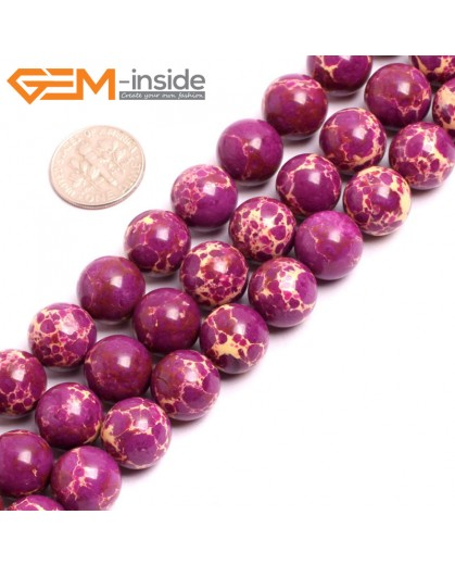 "G15336 12mm Round Purple Sea Sediment Jasper Beads Dyed color 15"" Beads for Jewelry Making Wholesale"