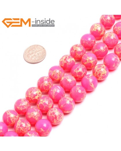 "G15337 12mm Round Pink Sea Sediment Jasper Beads Dyed Color 15"" Beads for Jewelry Making Wholesale"