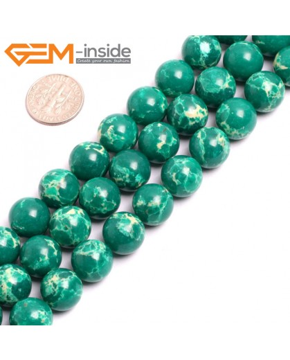 "G15338 12mm Round Dark Green Sea Sediment Jasper Beads Dyed Color 15"" Beads for Jewelry Making Wholesale"