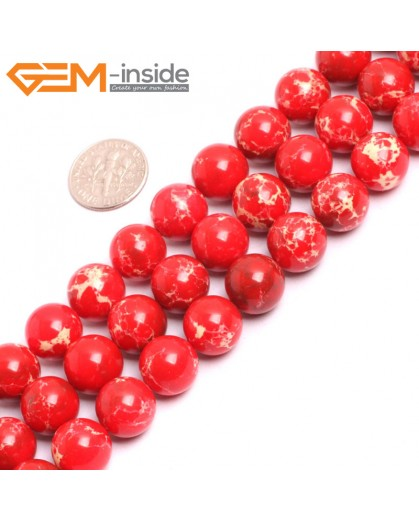 "G15339 12mm Round Red Sea Sediment Jasper Beads Dyed Color 15"" Beads for Jewelry Making Wholesale"