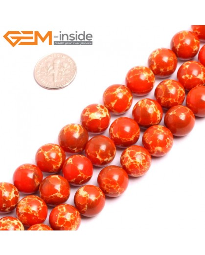 "G15341 12mm Round Orange Sea Sediment Jasper Beads Dyed Color 15"" Beads for Jewelry Making Wholesale"