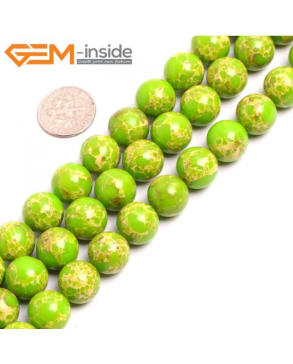 "G15343 12mm Round Apple Green Sea Sediment Jasper Beads Dyed Color 15"" Beads for Jewelry Making Wholesale"