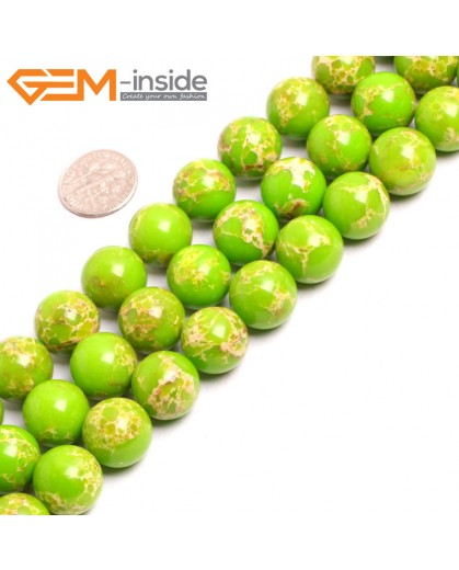 "G15344 14mm Round Apple Green Sea Sediment Jasper Beads Dyed Color 15"" Beads for Jewelry Making Wholesale"