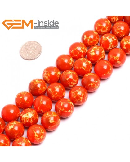 "G15345 14mm Round Orange Sea Sediment Jasper Beads Dyed Color 15"" Beads for Jewelry Making Wholesale"