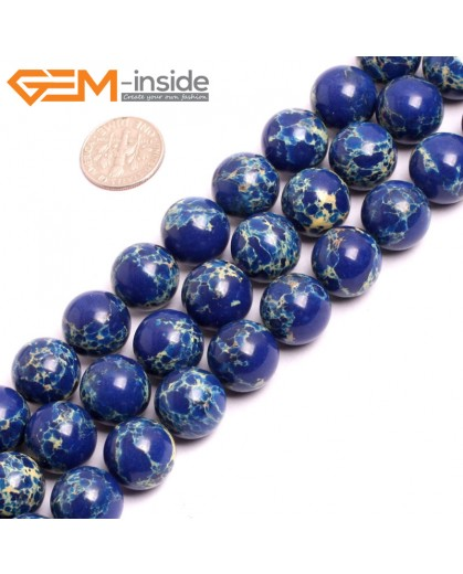 "G15346 14mm Round Lapis Blue Sea Sediment Jasper Beads Dyed Color 15"" Beads for Jewelry Making Wholesale"