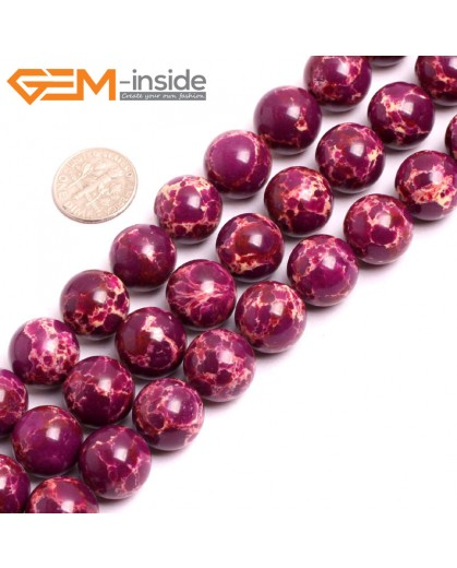 "G15347 14mm Round Purple Sea Sediment Jasper Beads Dyed Color 15"" Beads for Jewelry Making Wholesale"