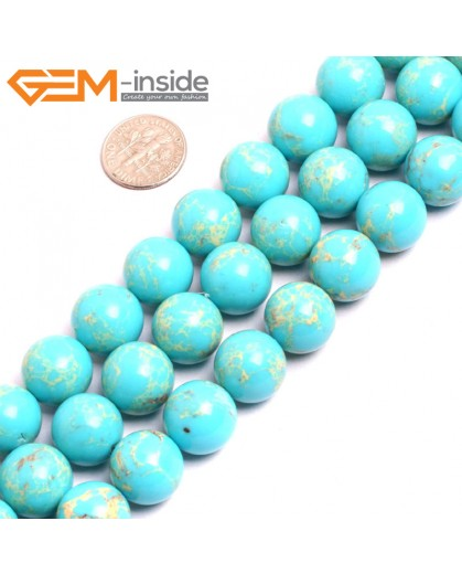 "G15348 14mm Round Turquoise Blue Sea Sediment Jasper Beads Dyed Color 15"" Beads for Jewelry Making Wholesale"