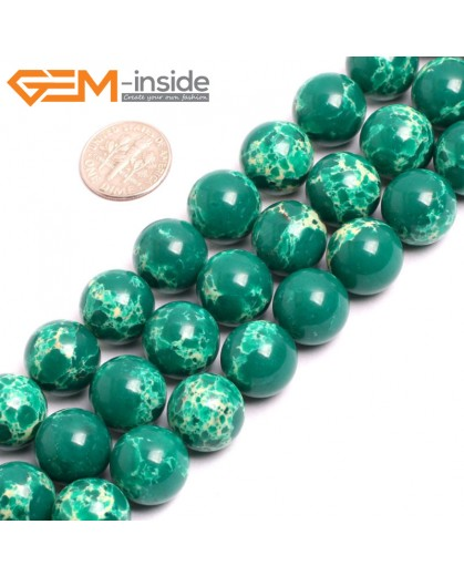 "G15350 14mm Round Dark Green Sea Sediment Jasper Beads Dyed Color 15"" Beads for Jewelry Making Wholesale"