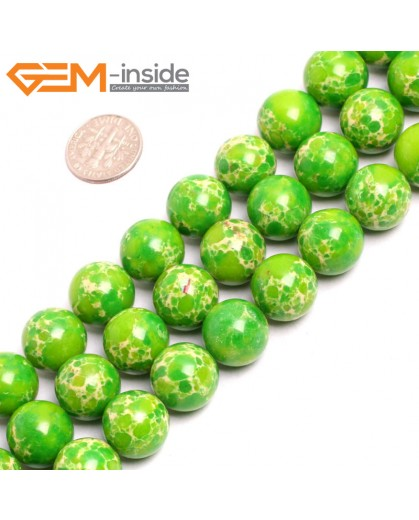 "G15351 14mm Round Green Sea Sediment Jasper Beads Dyed Color 15"" Beads for Jewelry Making Wholesale"