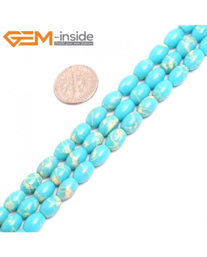 "G15353 6x9mm Rice Turquoise Blue Sea Sediment Jasper Beads Dyed Color 15"" Beads for Jewelry Making Wholesale"