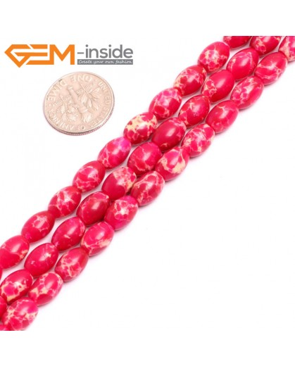 "G15354 6x9mm Rice Magenta Sea Sediment Jasper Beads Dyed Color 15"" Beads for Jewelry Making Wholesale"