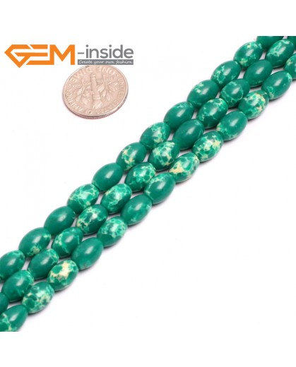"G15355 6x9mm Rice Dark Green Sea Sediment Jasper Beads Dyed Color 15"" Beads for Jewelry Making Wholesale"