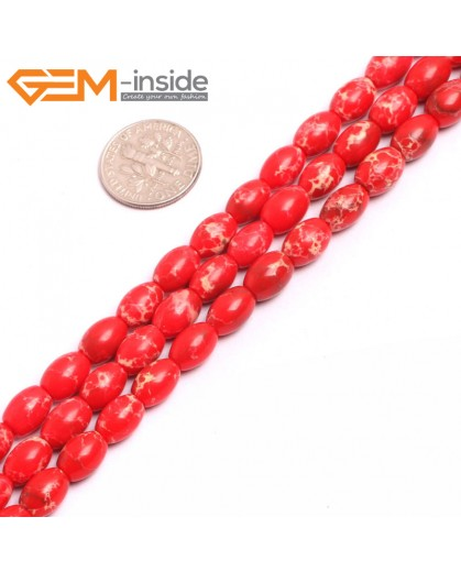 "G15356 6x9mm Rice Red Sea Sediment Jasper Beads Dyed Color 15"" Beads for Jewelry Making Wholesale"