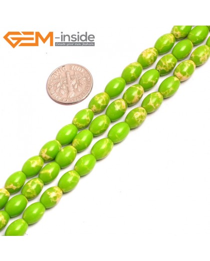 "G15359 6x9mm Rice Apple Green Sea Sediment Jasper Beads Dyed Color 15""  Beads for Jewelry Making Wholesale"