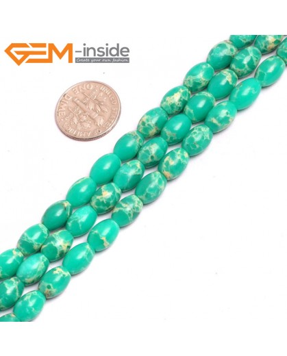 "G15360 6x9mm Rice Light Green Sea Sediment Jasper Beads Dyed Color 15"" Beads for Jewelry Making Wholesale"