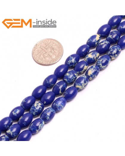"G15361 6x9mm Rice Lapis Blue Sea Sediment Jasper Beads Dyed Color 15"" Beads for Jewelry Making Wholesale"