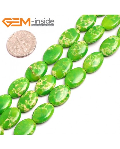 "G15362 10x14mm Oval Apple Green Sea Sediment Jasper Beads Dyed Color 15"" Beads for Jewelry Making Wholesale"