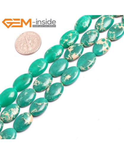 "G15363 10x14mm Oval Dark Green Sea Sediment Jasper Beads Dyed color 15"" Beads for Jewelry Making Wholesale"