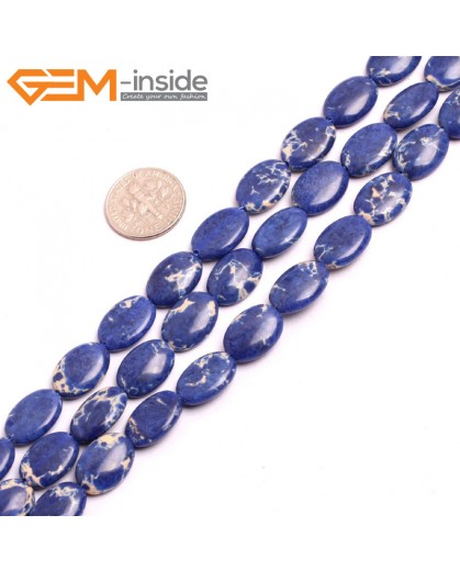 "G1536610x14mm Oval Lapis Blue Sea Sediment Jasper Beads Dyed Color 15"" Beads for Jewelry Making Wholesale"
