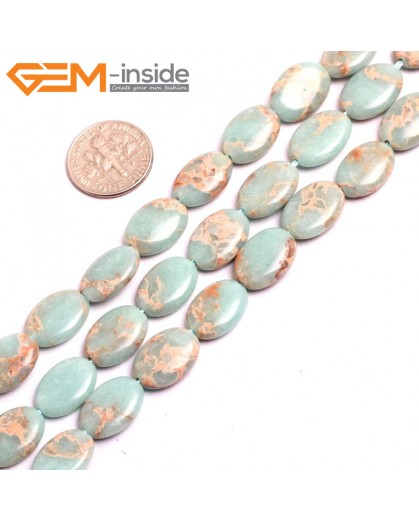 "G1536710x14mm Oval Light  Blue Sea Sediment Jasper Beads Dyed Color 15"" Beads for Jewelry Making Wholesale"