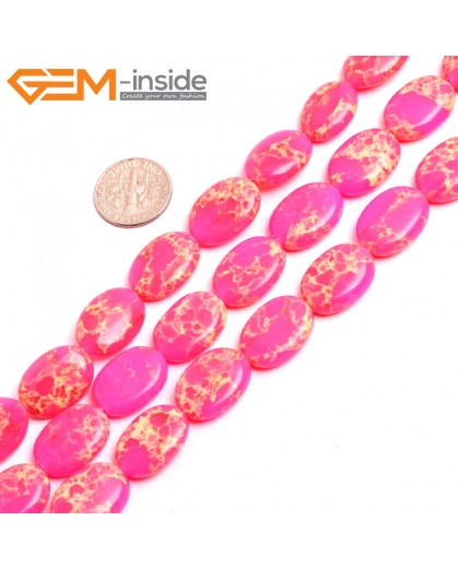 "G15370 13x18mm Oval Pink Sea Sediment Jasper Beads Dyed Color 15"" Beads for Jewelry Making Wholesale"